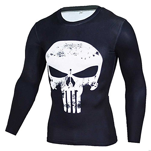 PKAWAY Men's Slim Fitness Compression Shirt Long Sleeve Punisher Printed Tee White M