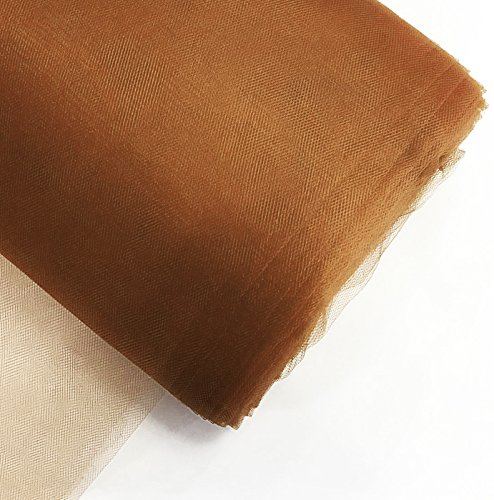 "Craft and Party, 54"" by 40 yards (120 ft) fabric tulle bolt for wedding and decoration (Brown)"