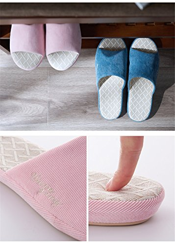 TELLW Bare Toes Home Cool Slippers Spring Summer Fall Men and Women Couples Indoor Anti-Skid Four Seasons Wooden Floor Cotton Linen Slippers Women Pink 76pIVgM8