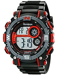 Men's 40/8284RED Large Metallic Red Accented Black Resin Strap Chronograph Digital Watch
