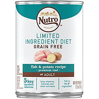NUTRO Limited Ingredient Diet Adult Fish & Potato Recipe Premium Loaf Canned Dog Food 12.5 Ounces (Pack of 12)