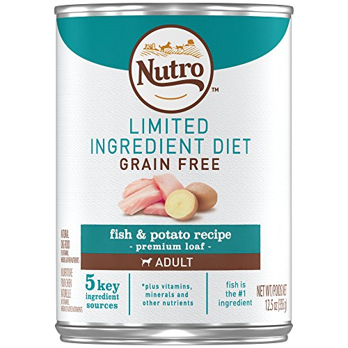 Fish Canned Food - Nutro Limited Ingredient Diet Adult Fish & Potato Recipe Premium Loaf Canned Dog Food 12.5 Ounces (Pack of 12)