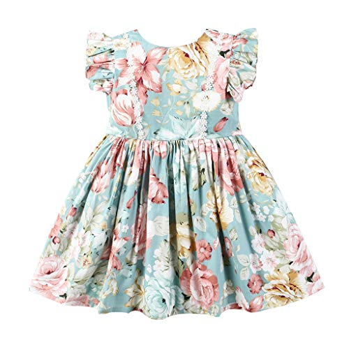 Childrens Designer Boutique (Zlolia Baby Girls Floral Print Princess Dress Cap Sleeve High Waist Pleated Round Neck Dress Summer Girls)