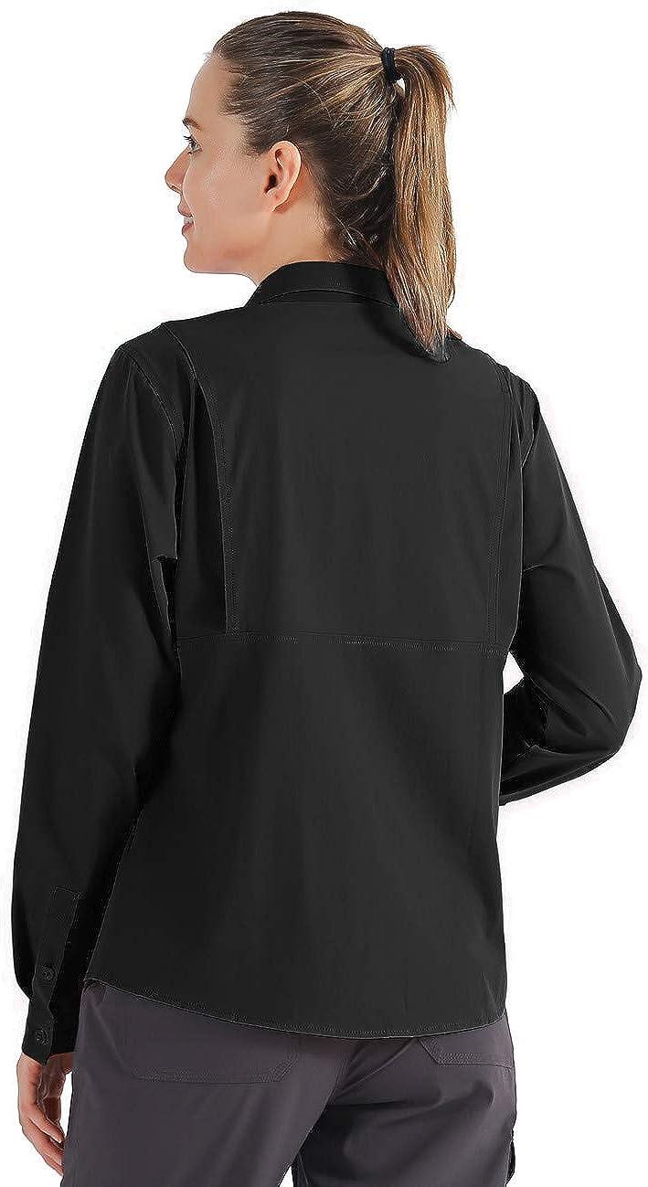 Unitop Womens Roll-Up Long Sleeve Fishing Shirt for Hiking Camping