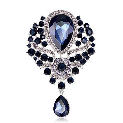 Grtdrm Created Rhinestone Crystal Brooch, Big Crystal Rhinestone Bouquet Brooch Fashion Pin Gift for Women Girls (Navy Blue)