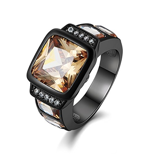 - Suohuan Fashion Vintage Jewelry Men's Emerald Cut Champagne Created Topaz & Sapphire Black Gold Plated Valentine's Day Gift For Him Size 7