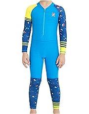 DIVE&SAIL Boy's Wetsuit Swimsuit One Piece Rashguard Swimwear Quick Dry Bathing Suit Kids Diving Suit