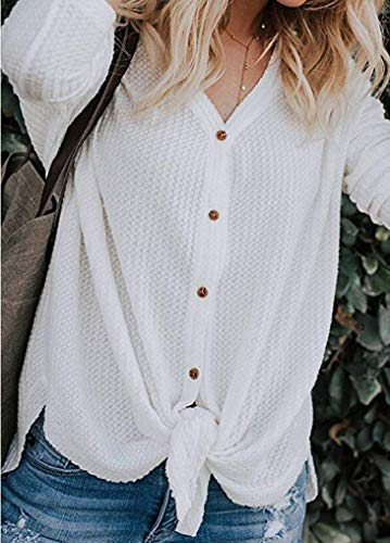 V Sweat Col Noeud Tunique Tops Chandails Chemisier Chauve Walant Lache Blanc tricots Irrgulier Boutons Souris Manches Longues Casual Shirt Femme Mode Cardigan Dcontract Blouse qwFfnCxIP