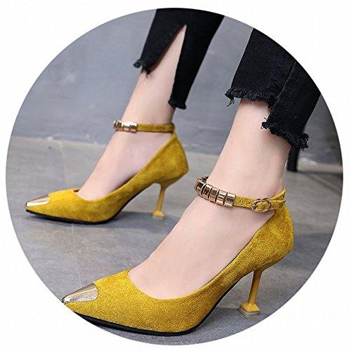 Haut Avec Travail Chaussures Bouche Peu Chaussures De Chaussures Pointu Hautes Match Toutes Mot Jaune Boucle Des Profondes Talon Eur37 Les Fines CZA5qw