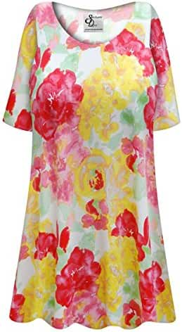 Yellow & Pink Floral Plus Size Supersize Poly/Cotton Extra Long T-Shirt