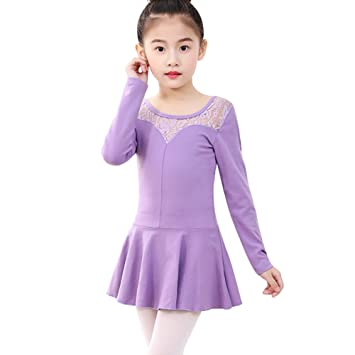 fbdc0b811 Amazon.com   Gsha Girls  Long Sleeve Ballet Dance Dress Lace Leotard ...