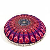 """Bohemian Ombre Indian Mandala Pouf/Floor Cushion Cover - Round - Organic Cotton, Hand Printed, 30"""" by MandalaLifeART (Pink)"""