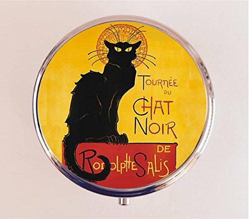 Chat Noir Pill Box Pillbox Case Holder Black Cat French Cabaret