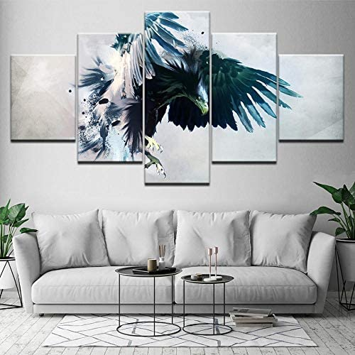 イーグル5ピース壁紙アートキャンバスプリント現代のポスターモジュラーアート絵画リビングルームの家の装飾/ 30×40 30×60 30×80センチフレームなし