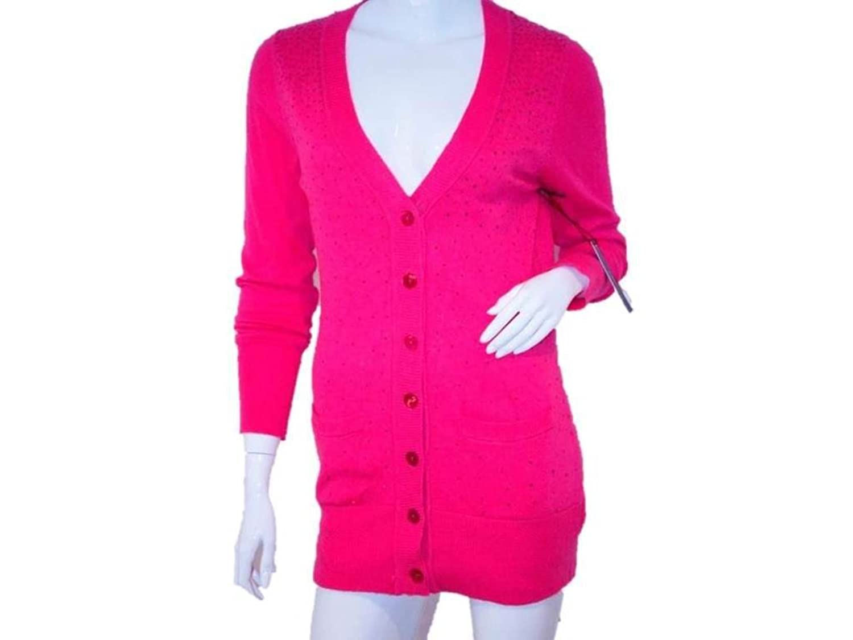 BCBG Women's Cardigan Sequin Sweater, Fuchsia, M