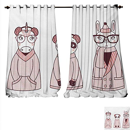 Familytaste Decor Curtains By Hand Drawn Animals With Coats Earmuffs And Hats Ca