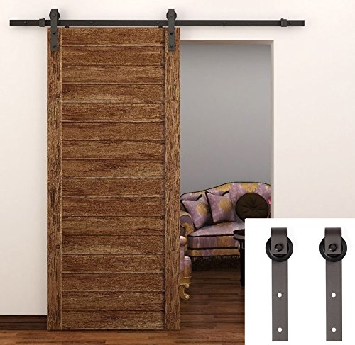 tcbunny 66 feet country steel sliding barn wood door hardware antique style brown