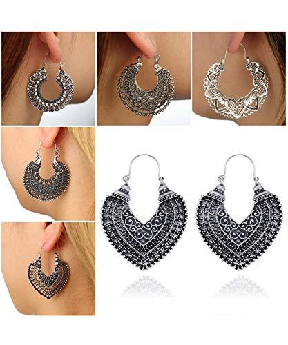 Drop Jewelry Heart Earrings (Yirind Women Fashion Boho Style Heart Shape Hollow Dangle Drop Earrings Jewelry Gift)
