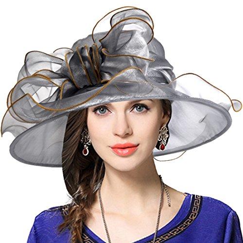 Kentucky Derby Church Wide Brim Dress Cocktail Party Sunday Hat (Bow-Grey) (Women Sunday Dresses)
