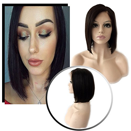 Brazilian Human Hair Lace Frontal Wigs with Baby Hair Bob Style for Women Short Straight Side Part Glueless Lace Wig for Women 130% Density 8 Inch #1B Off Black with - Head Office Swiss American