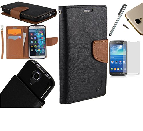 Photo - For Microsoft Lumia 550 Phone Case PU Leather Flip Cover Folio Book Style Pouch Card Slot Wallet + [WORLD ACC®] LCD Screen Protector+ Stylus (Black/Brown)