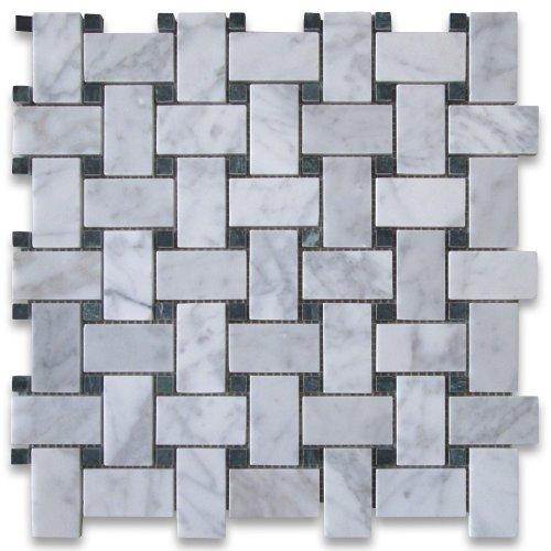 Green Basketweave (Carrara White Italian Carrera Marble Basketweave Mosaic Tile Green Dots 1 x 2 Honed)