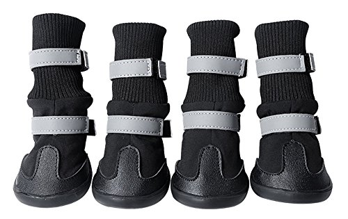 Dog Shoes Waterproof Dog Boots Anti-Slip Snow Boots Warm Paw Protector for Dog in Winter - Black - L (Best Anti Slip Snow Boots)