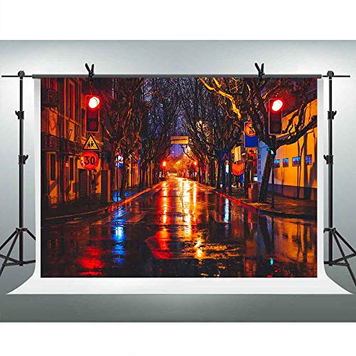 FHZON 10x7ft Night Street After Rain Photo Backdrop Traffic Light Photography Background Theme Party Video Studio Props GEFH392 ()