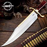Gil Hibben Old West Bowie Knife - Bloodwood Edition - Stainless Steel Blade, Wooden Handle, Gold-Plated Guard, Leather Sheath - Length 20 1/2''