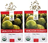 Organic Green Zebra Tomato Seeds - 2 Seed Packets! - Over 100 Heirloom Non-GMO USDA Organic Seeds