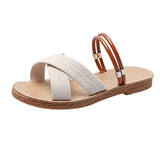98d592f0acb18 Amazon.com: 2019 Summer Women's Retro Open Toe Shoes Fashion Flat ...