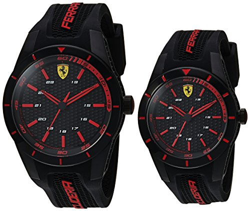 Man Rev Set - Ferrari Men's 'Red Rev' Father/Son Gift Set' Quartz Stainless Steel and Silicone Casual Watch, Color Black (Model: 0870017)