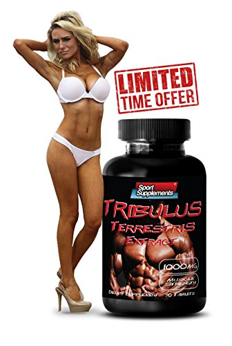 Pure Male Libido and Endurance Booster - Tribulus Terrestris Extract 1000mg - Top Natural Testosterone Booster - Premium Qaulity (1 Bottle 90 Tablets)