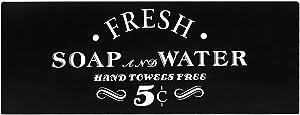 Vintage Bath Advertising Wall Art, Rustic Bathroom Wood Wall Sign, 6X16 Inch Bathroom Laundry Room Decor, Farmhouse Style Home Decor Plaque