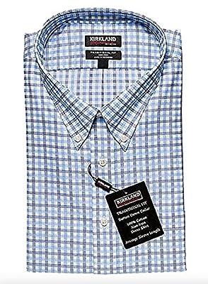 k Kirkland Signature Traditional Fit Non-Iron Button Down Collar Dress Shirt