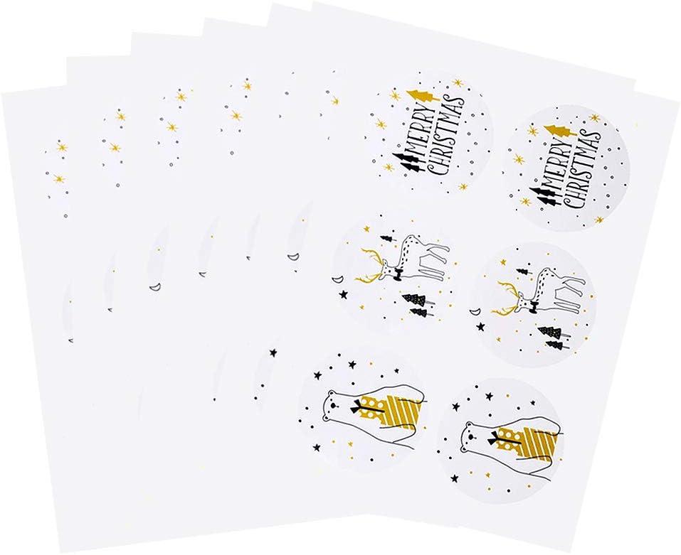 Navidad Pegatinas,300 pcs Navidad Etiqueta de Papel Adhesivo Regalo Paquete Sellado Pegatinas FELIZ NAVIDAD/Alce/Oso Patrones de 3 estilos para el festival de Navidad Regalos Etiquetas