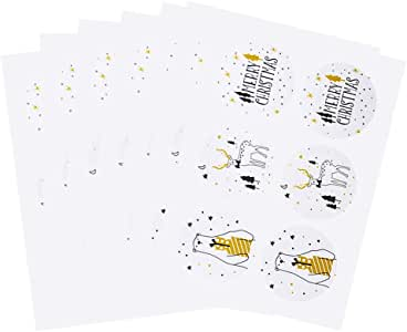 Christmas Gift Tags Self Adhesive Stickers Gift Tag 300 Pcs White Xmas Gift Tags MERRY CHRISTMAS/Elk/Bear 3 Styles Patterns for Christmas Festival Presents Labels Decals Christmas Gift for Friends