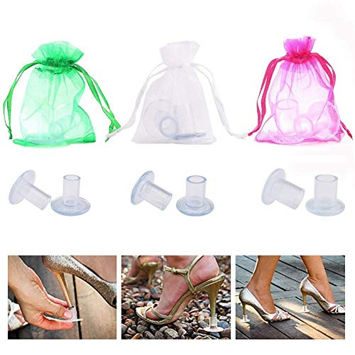 TOLTOL 12 Pairs Heel Stoppers High Heel Protectors Heel Replacement Anti-Slip for Weddings Outdoor Activities Prevent Sinking into The Grass by TOLTOL
