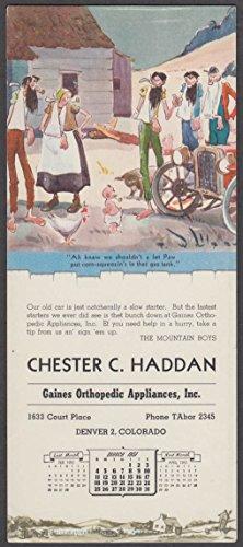Paul Webb's Mountain Boys blotter Haddan Orthopedic Appliances Denver 3 1951