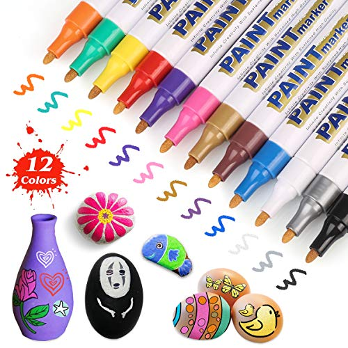 AVAVA Markers Paint Pens, Set of 12 Permanent Painting Markers DIY Craft for Rock, Wood, Metal, Plastic, Glass, Canvas, Ceramic,Medium Tip Quick Dry, High Volume Ink