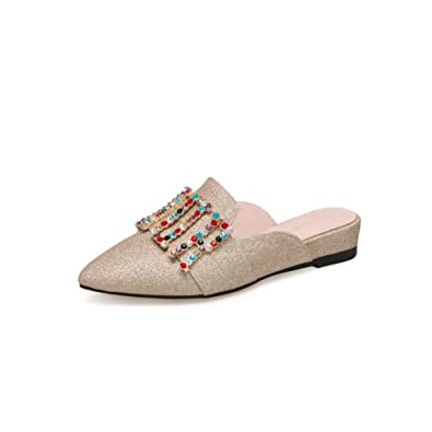 be656abbbd8b56 Btrada Women s Fashion Sequins Flat Sandals Pointed Toe Slip On Slides  Ladies Lazy Slipper Dress Shoes