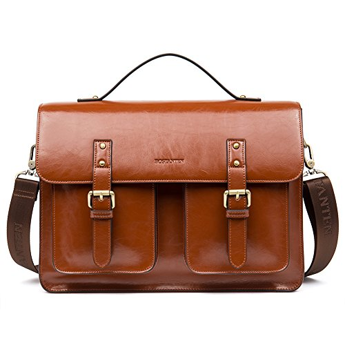 BOSTANTEN Leather Messenger Satchel Bags Vintage Shoulder Laptop Briefcase for Men & Women (Light Brown Leather Briefcase)
