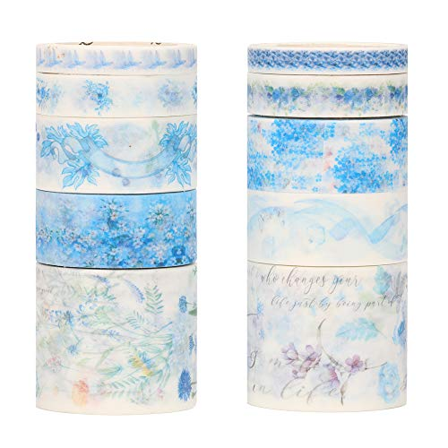 Molshine Floral Washi Masking Tape Set of 10, Spring Flower Decorative Sticky Paper Tapes for DIY Craft, Gift Wrapping, Bullet Journal, Planner, Scrapbooking (G)