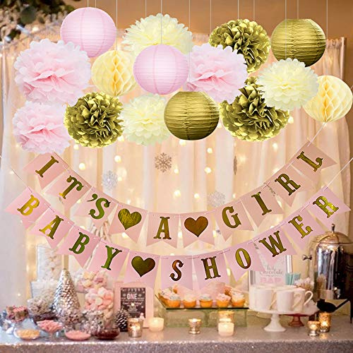 HappyField Girl Baby Shower Decorations - IT'S A GIRL BABY SHOWER Banner Tissue Pom Poms Paper Lanterns Honeycomb Balls Battery Powered LED String Lights Pink Gold Baby Shower Decorations For -