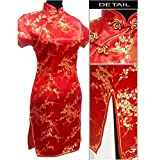 5sos pics - Black red Chinese Women's Satin Cheongsam Qipao Mini Evening Dress,5X,Red