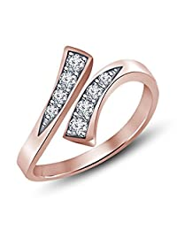 SilvernshineJewels Rose Gold over Alloy White Sim Diamond Prong-Set Bypass Adjustable Toe Ring