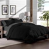 Extra Large King Bed Comforter Bare Home 7-Piece Bed-in-A-Bag - California King (Comforter Set: Black, Sheet Set: Grey)