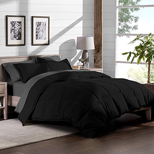 Bare Home 7-Piece Bed-in-A-Bag - California King (Comforter Set: Black, Sheet Set: Grey) Black Friday & Cyber Monday 2018