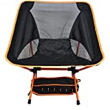 Heruai Camping Picnic Folding Chairs Light Leisure Folding Portable Padded Chair Folding Camping Chair Aluminum Alloy Bracket , orange