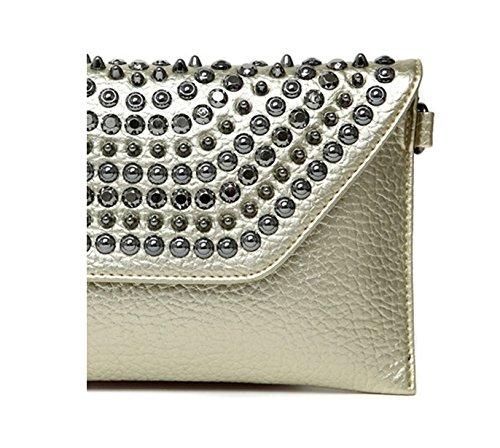 de de main à en dos Or diamant de sac à version à mode poignet mode rivet Sac coréenne de sac à Couleur soirée sac main Or paquet Y0qC6wR